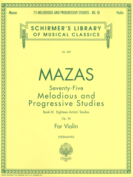 75 Melodious and Progressive Studies, Op. 36 - Book 3: Artist's Studies