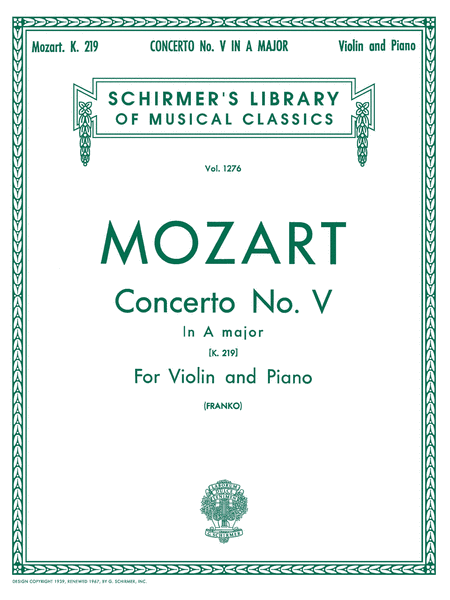 Violin Concerto No. 5 in A Major, K. 219 - Violin/Piano