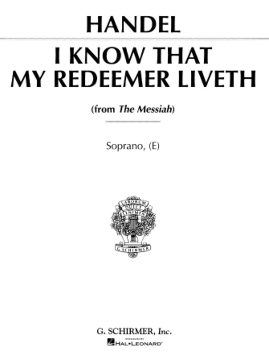 I Know That My Redeemer Liveth (from Messiah)