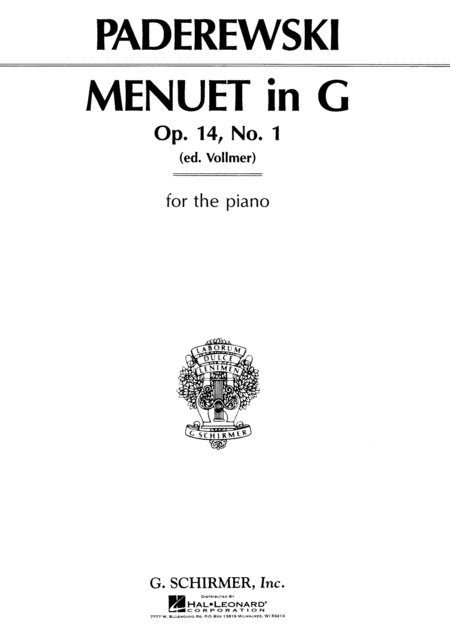 Menuet in G, Op. 14, No. 1