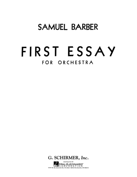 first essay for orchestra sheet music by samuel barber sheet  first essay for orchestra