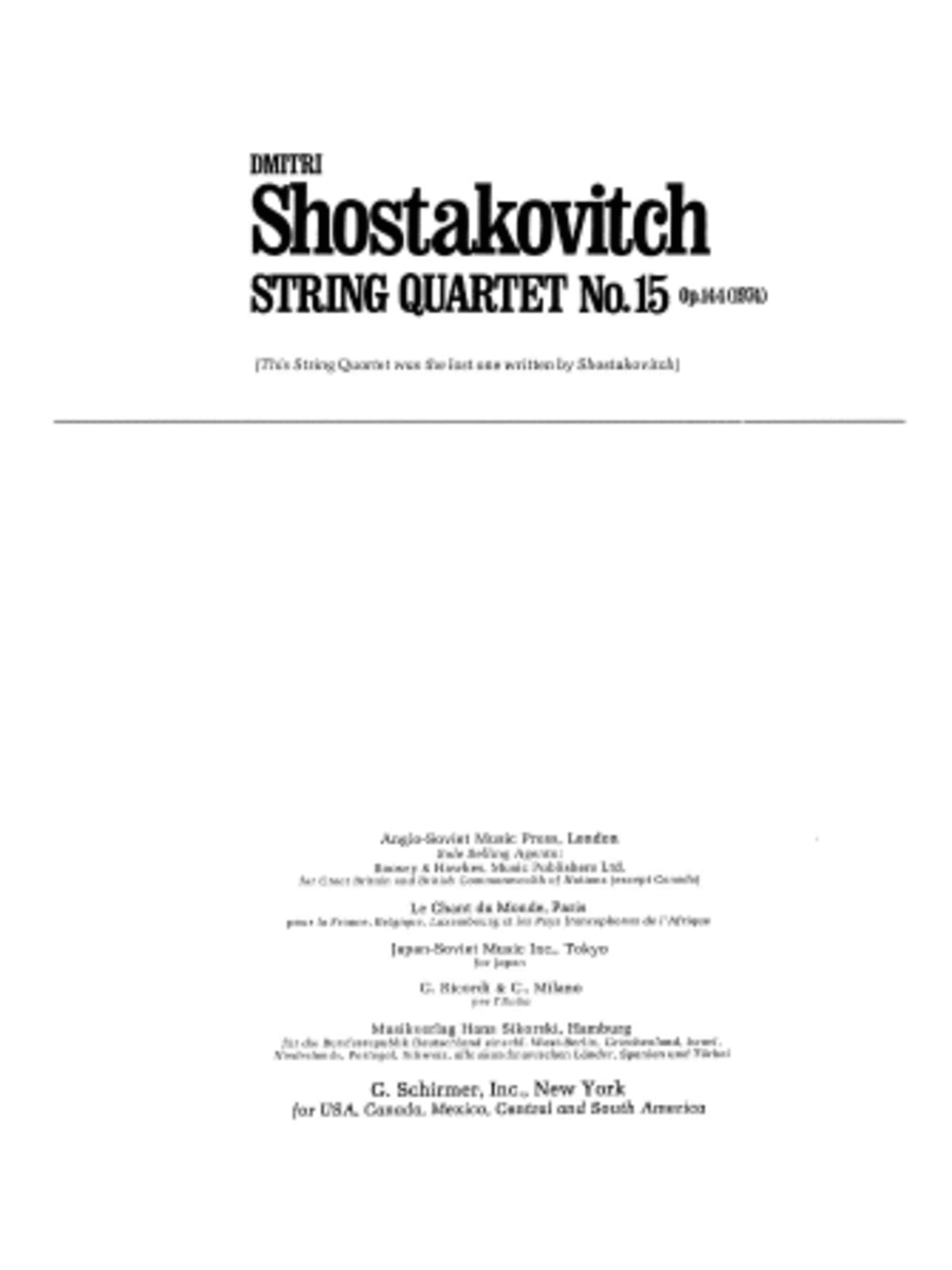 String Quartet No. 15, Op. 144 (1974)