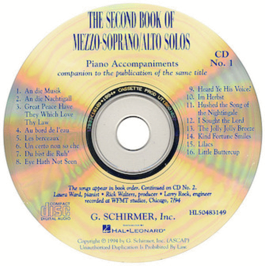 The Second Book of Mezzo-Soprano/Alto Solos (Accompaniment CDs)