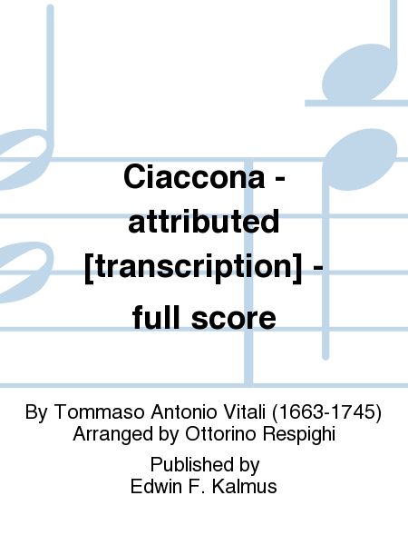 Ciaccona - attributed [transcription] - full score