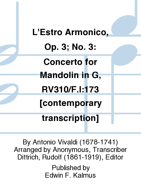L'Estro Armonico, Op. 3; No. 3: Concerto for Mandolin in G, RV310/F.I:173 [contemporary transcription]