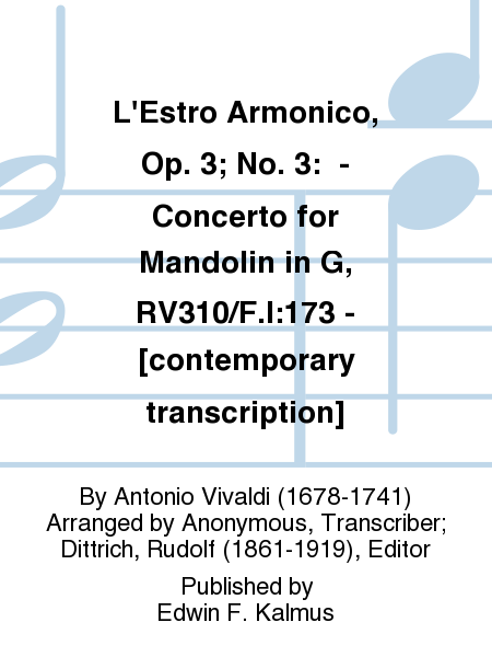 L'Estro Armonico, Op. 3; No. 3:  - Concerto for Mandolin in G, RV310/F.I:173 - [contemporary transcription]