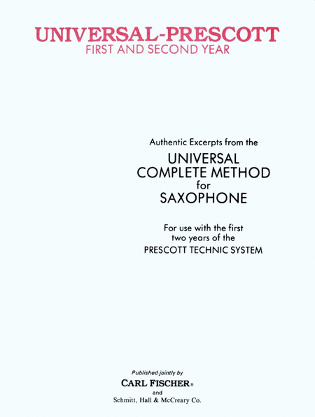 Universal-Prescott Saxophone Method 1st & 2nd Year