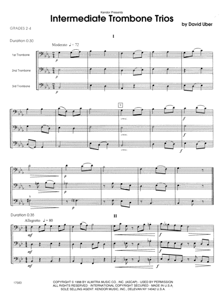 Intermediate Trombone Trios