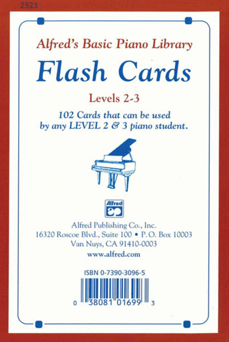 Alfred's Basic Piano Course - Flash Cards, Book 2 & 3