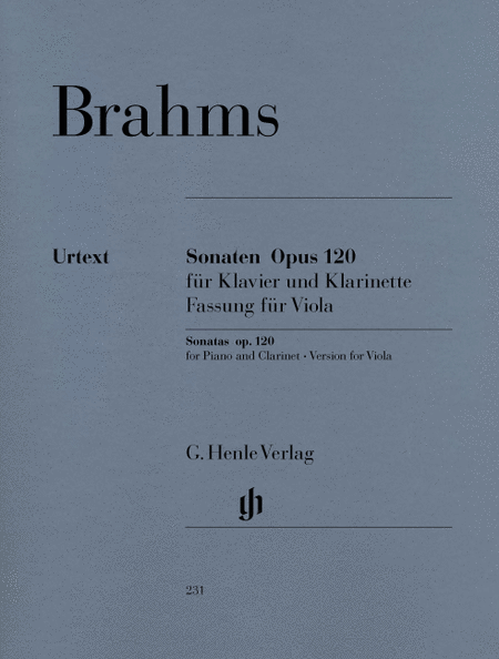 Sonatas for Piano and Clarinet (or Viola) op. 120, Nos. 1 and 2 (Version for Viola)