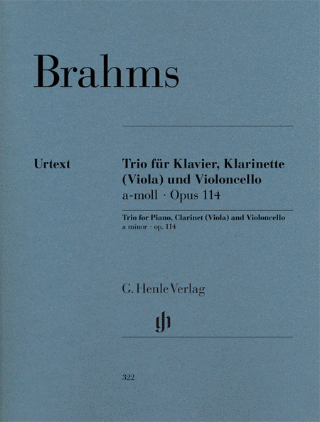 Clarinet trio for Piano, Clarinet (or Viola) and Violoncello A minor op. 114
