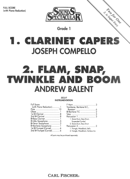 Clarinet Capers/Flam, Snap, Twinkle and Boom