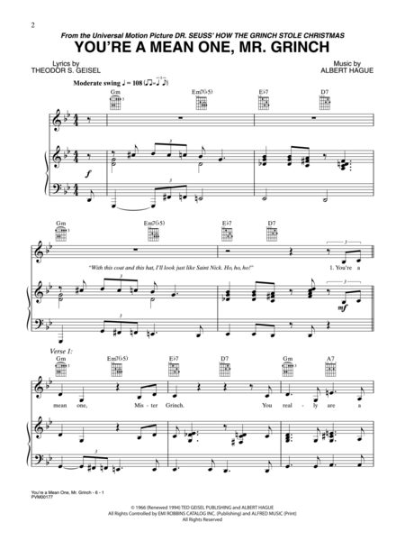 You're A Mean One, Mr. Grinch Sheet Music By Jim Carrey - Sheet Music Plus