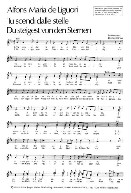 Tu scendi dalle stelle (Du steigest von den Sternen) - Choir Score