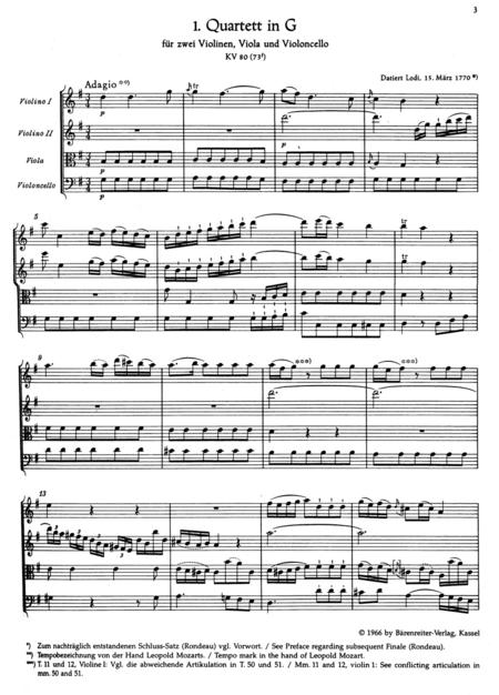 Die dreizehn fruhen Streichquartette