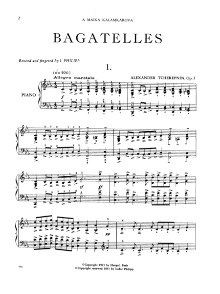 Ten Bagatelles, Opus 5