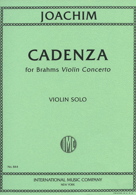 Cadenzas for Brahms' Violin Concerto