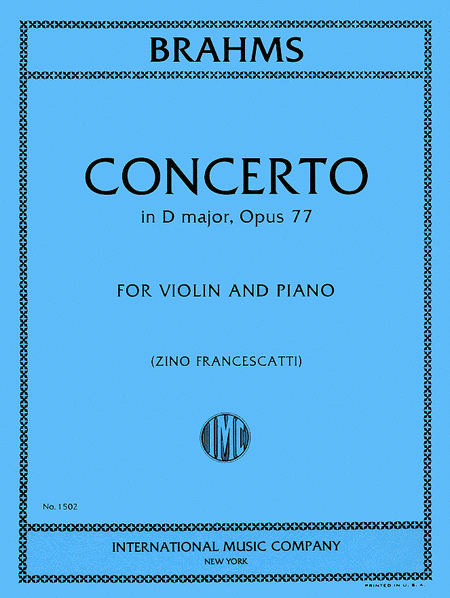 Concerto in D major, Op. 77 (With Cadenzas by JOACHIM and AUER)