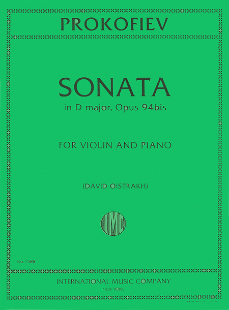 Sonata in D Major, Opus 94bis (for Violin and Piano)