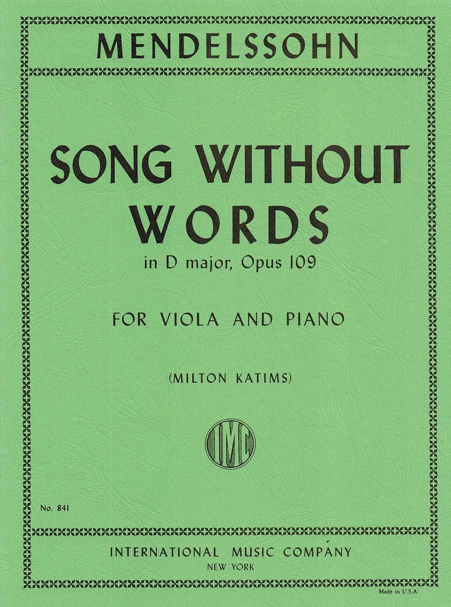 Song Without Words in D major, Opus 109