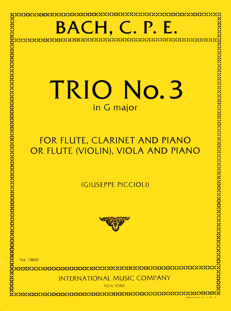 Trio No. 3 in G major for Flute, Clarinet & Piano or Flute (Violin), Viola & Piano