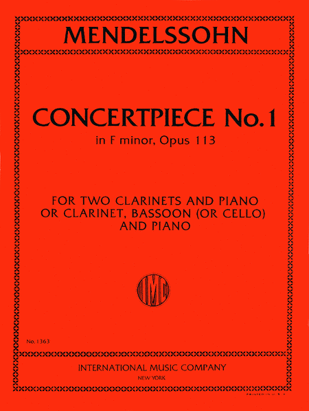 Concert Piece No. 1 in F minor, Op. 113 for Clarinet, Bassoon & Piano or 2 Clarinets & Piano