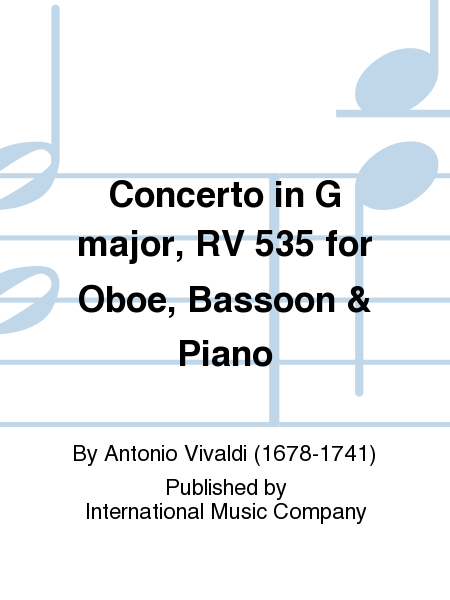 Concerto in G major, RV 535 for Oboe, Bassoon & Piano