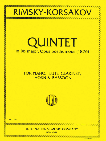 Quintet in B flat major for Flute, Clarinet, Horn, Bassoon & Piano