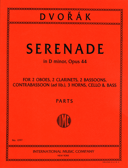 Serenade in D minor, Opus 44 for 2 Oboes, 2 Clarinets, 3 Horns, 3 Bassoons, Cello & Bass