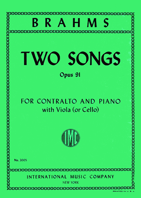 Two Songs, Opus 91 for Contralto