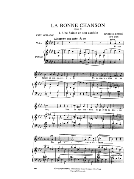 La Bonne Chanson. A Cycle of Nine Songs. High