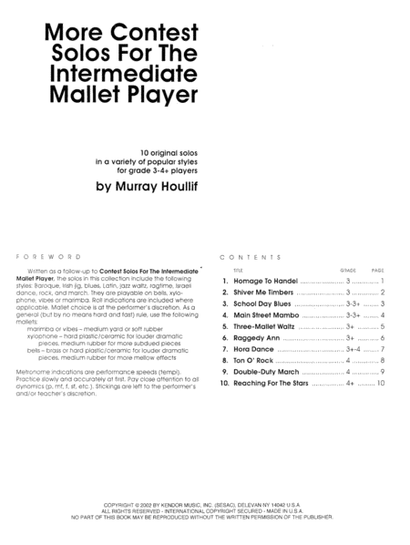 More Contest Solos For The Intermediate Mallet Player