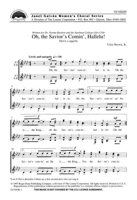 Oh, the Savior's Comin', Hallelu!