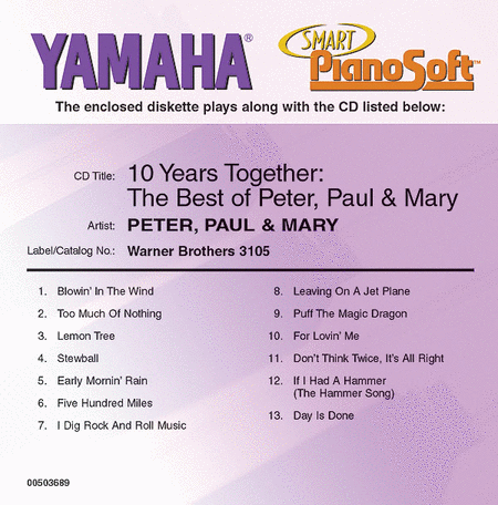 10 Years Together: The Best of Peter, Paul & Mary - Piano Software