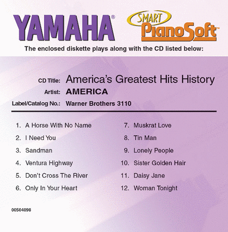 America's Greatest Hits History - Piano Software