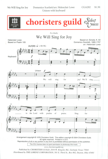 We Will Sing for Joy