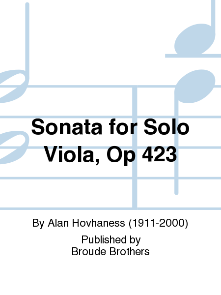 Sonata for Solo Viola, Op 423