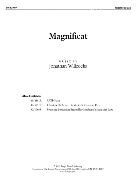 Magnificat - Organ Part