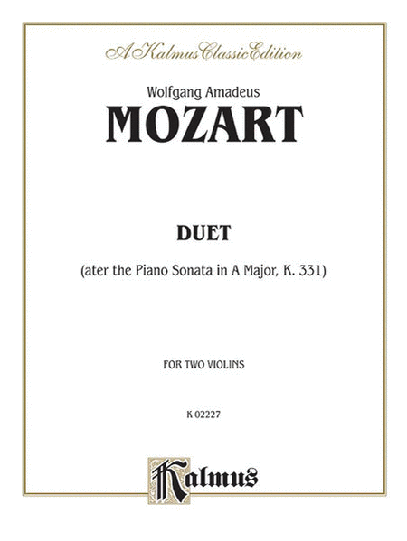 Duets After Piano Sonata In A Maj - 2 Violins