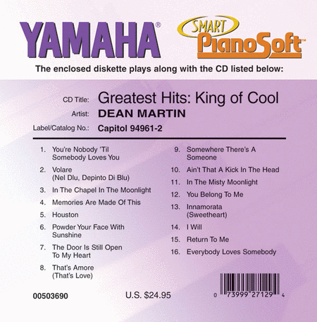 Dean Martin's Greatest Hits - King of Cool - Piano Software