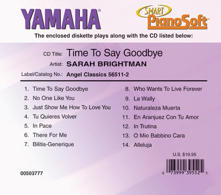 Sarah Brightman - Time to Say Goodbye - Piano Software