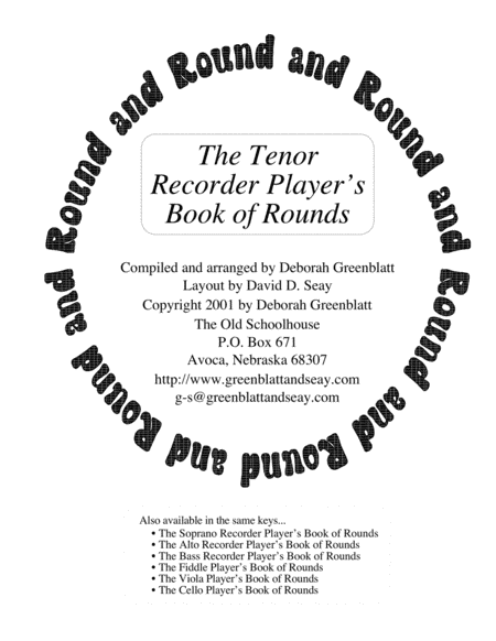 The Tenor Recorder Player's Book of Rounds