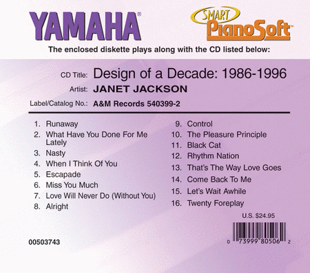 Janet Jackson - Design of a Decade: 1986-1996 - Piano Software