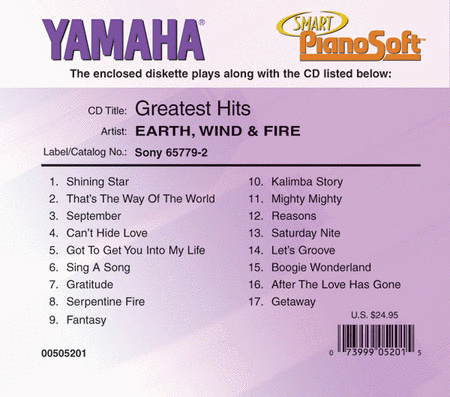 Earth, Wind & Fire - Greatest Hits - Piano Software