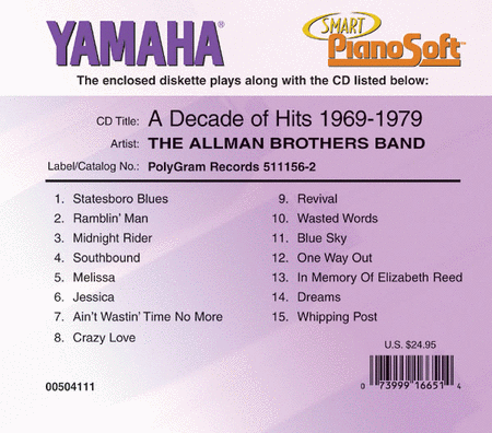 The Allman Brothers Band - A Decade of Hits 1969-1979 - Piano Software