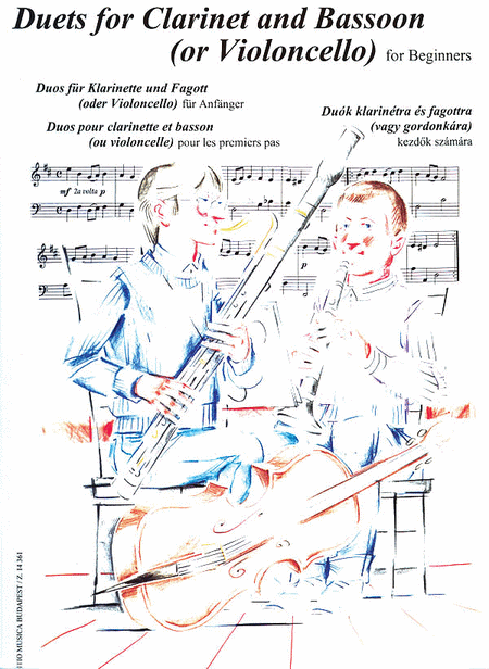Duets for Clarinet (B-flat) and Bassoon (or Cello) for Beginners