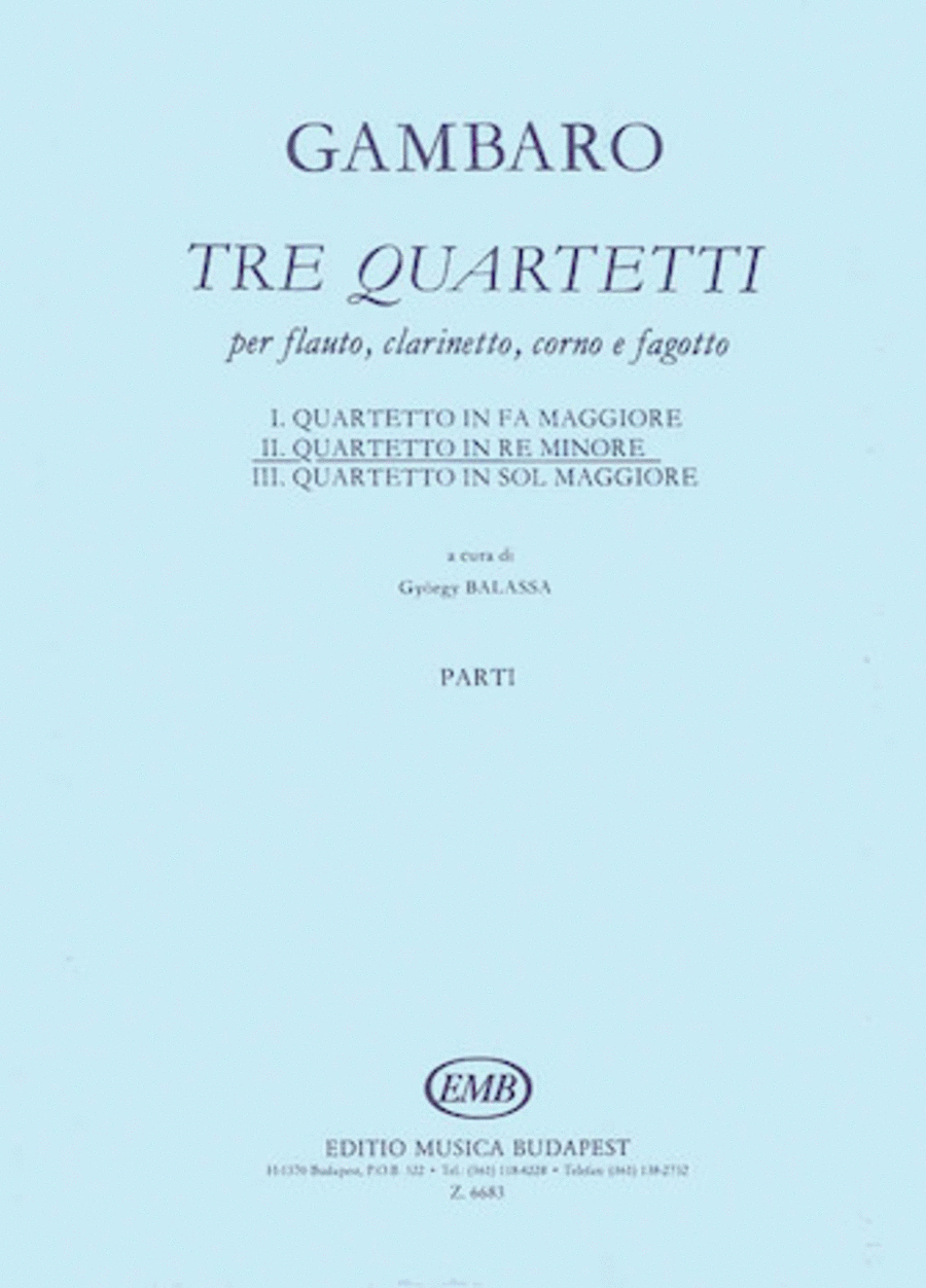 Quartet in D Minor for Flute, Clarinet, Horn, Bassoon