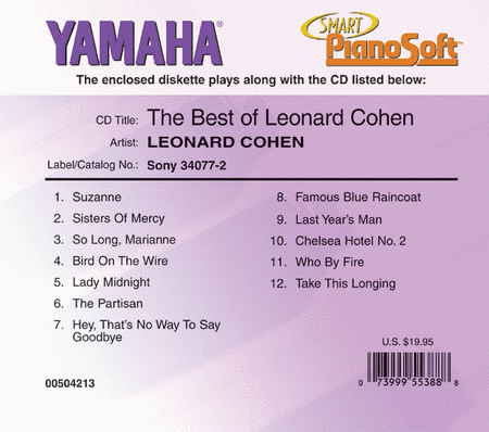 The Best of Leonard Cohen - Piano Software