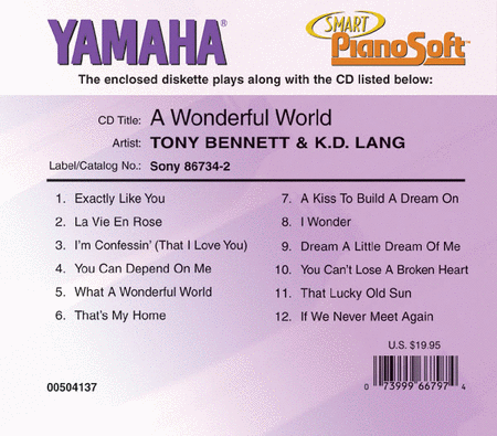 Tony Bennett & K.D. Lang - A Wonderful World - Piano Software
