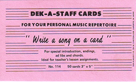 Deck-A-Staff Cards, 50 1 sided 3 x 5